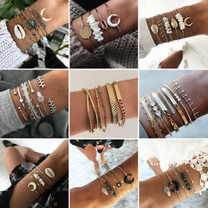 7Pcs/set Boho Women Shell Pearl Beads Natural Stone Tassel Crystal Bracelet Gift