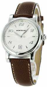 Montblanc Star Date Silver Dial 40mm Brown Leather Band Men's Watch 108762