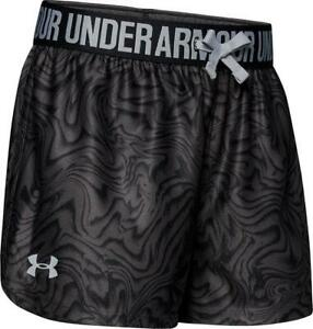 Under Armour Girl's Play Up Shorts-Black & Charcoal-Youth XSmall-1341126-003-NEW