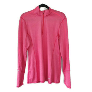 Brooks Running Athletic Womens Long Sleeve 14 Zip Pullover Shirt Thumbhole XL