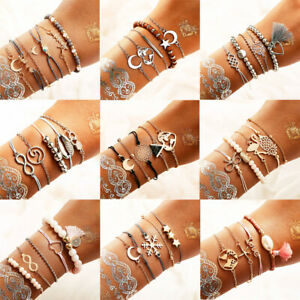 Women Boho Beads Charm Shell Multilayer Rope Chain Hollow Bracelets Set Gift