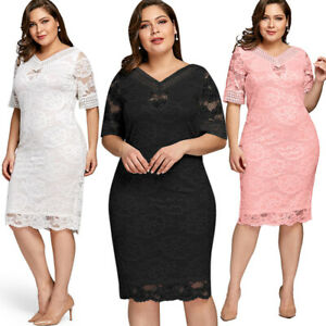 Plus Size Women OL Office Lace V Neck Bodycon Cocktail Evening Party Midi Dress