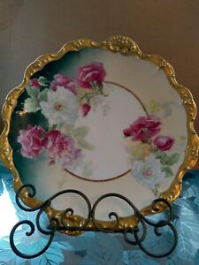 Elegant Limoges Antique Hand Painted And Signed Porcelain 12 Inch Wild Roses...