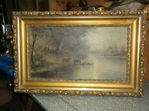 Antique Oil Painting Cows in river DURANT 98 size 28 x 17 12
