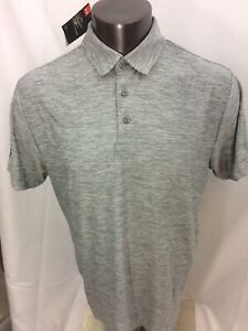 NEW Under Armour Heat Gear Loose Golf Heather Gray Polo Shirt Mens Large