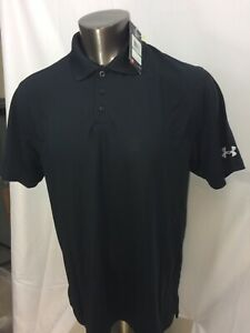 NEW Under Armour Heat Gear Loose Golf Heather Black Polo Shirt Mens Large