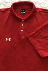 Mens Under Armour Short Sleeve Red Stretchy Wicking Golf Polo Shirt Large $14.99