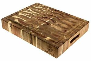 Avignon Large End Grain Cutting Board, Prep Station, Thick Maple and Acacia Wood