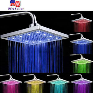 NEW Colorful LED Square 8 Inch Rainfall Shower Head Sprayer 7 Colors Changing US