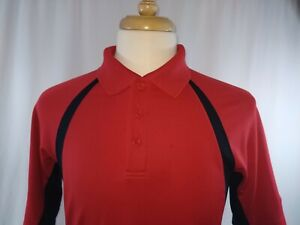 Under Armour Red Black Loose Heat Gear Rugby Golf Polo Shirt Mens Small **