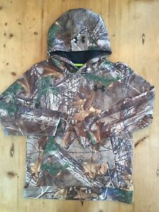 Boy's Under Armour Storm 1 Realtree Camo Hoodie Sweatshirt Youth Large MINT!