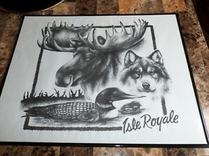 BEAUTIFUL RARE ISLE ROYALE SKETCH SIGNED BY D.TRAPP IN 1990