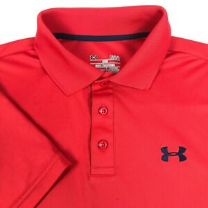 EUC Mens Red Under Armour Heat Gear SS Golf Loose Fit Athletic Polo Shirt L
