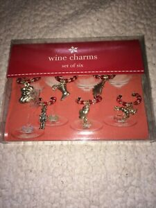 Target Christmas Holiday Wine Charms Set Of 6 - New Factory Sealed In Box