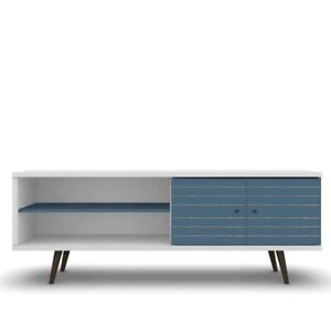 Walker Edison 60 Inches Wooden TV Stand Storage Console in WhiteBlue Finish New