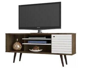 Walker Edison 50 Inches Wooden TV Stand Storage Console in BrownWhite Finish