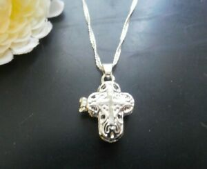Necklace Cross Locket Jesus Crucifix Silver Tone Pendant US Seller Stock NEW $5.99