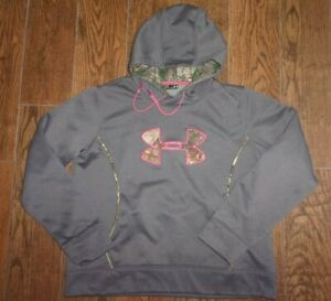 Womens Under Armour Cold Gear GreyPink Camo Hoodie Sweatshirt Semi-Fitted XL