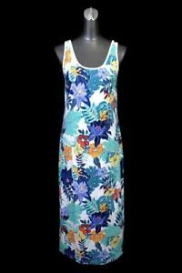 womens blue teal tropical floral print TOMMY BAHAMA maxi shift dress stretch M