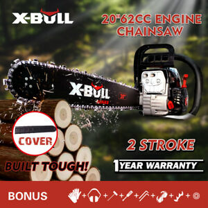 X BULL 62cc Gasoline Powered Chainsaw 20quot; Bar Engine Wood Cutting 2 Cycle $139.90