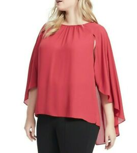 Vince Camuto Gathered Crew Neck Cape Blouse Size 1X