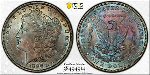 RAINBOW TONED~~PCGS 1886 MS64+  MORGAN SILVER DOLLAR TRUE KALEIDOSCOPE OF COLOR