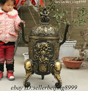 Temple China Bronze Dragon Head Lion PiXiu Elephant Statue Incense Burner Censer