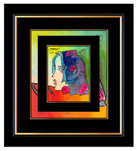 PETER MAX ORIGINAL Signed Ink and WATERCOLOR PAINTING Pop Art BLUSHING BEAUTY