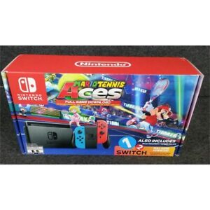 Nintendo Switch Game System Neon Blue & Neon Red W Mario Tennis Aces1-2 Switch