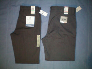 NWT NEW charcoal gray DOCKERS flat front no wrinkle Signature khaki pants