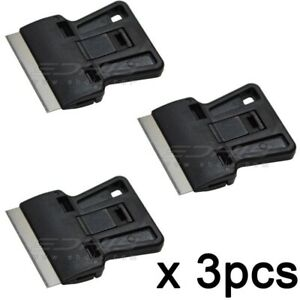 3pcs Mini Razor Scraper With Steel Tools Tint Window Ice Sticker Cutter Squeegee