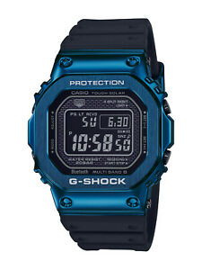 New Casio G-Shock Blue PVD Steel Resin Strap Watch GMWB5000G-2