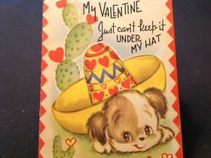 #902🌟Vintage 40s Childrens Valentine Card Pup Cant KEEP IT UNDER HAT Sombrero $16.95
