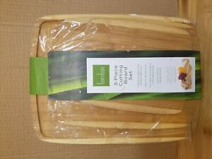 BAMBOO WOOD CUTTING BOARD Set of 3 Kitchen Essential Small Medium Large