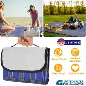 60x78 Waterproof Picnic Blanket Outdoor Sand Beach Mat Pad Rug with Strap US