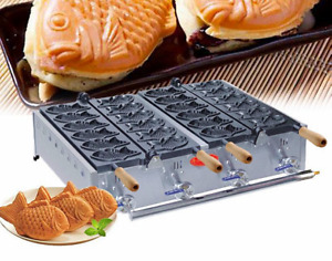 Nonstick Electric Taiyaki Fish Waffle Maker 12 pcs Commercial Jam or Ice Cream