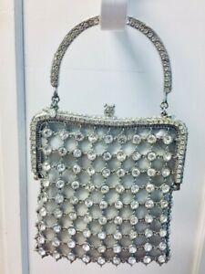 Designer RHINESTONE Purse CLARA KASAVINA Silver Evening Handbag NEW $1000+
