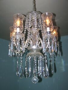 CRYSTAL CHANDELIER-ONE OF A KIND-SPECIALLY MADE FOR A VINTAGE LOOK-NEW PRISMS