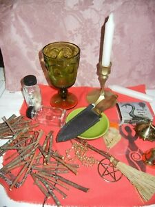Wicca Altar Set Athame Bell Pentacle Besom  Censer Incense Witch ladder