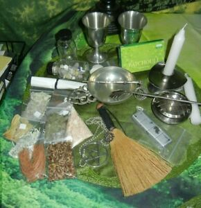 Wicca Altar Set Pewter Goblets Bowl Censer Besom Wand Herbs Incense MORE