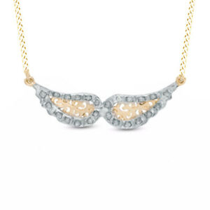 Natural Diamond Wings Necklace in 14K Yellow Gold