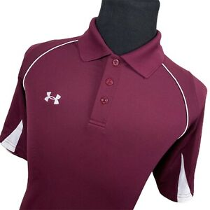 Under Armour Red Short Sleeve Golf Polo Shirt Mens Large L $25.51