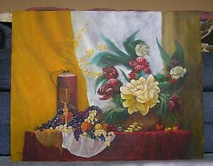 STILL LIFE GARDEN LADY SLIPPER PEONY GRAPES ORANGES PEACHES APPLES WINE PAINTING