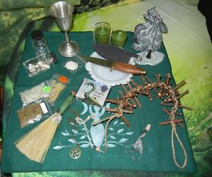 Wicca Altar Set Athame Besom Censer Witch Ladder Dragon Incense Burner Pewter