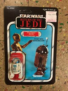 Vintage Kenner Star Wars ROTJ Artoo-Detoo R2-D2 with Sensorscope 65 Back MOC POP