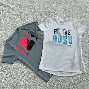 Lot of 2 Under Armour Girls Short Sleeve Shirts Gray White Youth XS