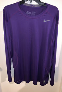 New XL Men's Nike Pro Combat Dri-Fit Long Sleeve Purple Fitted Shirt Breathable