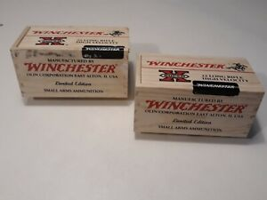2 Empty Wooden Winchester 22 Long Rifle Ammo Box With Sliding Top
