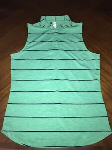 Girls Youth Under Armour Golf Shirt Size Youth Large Green Baby Blue Striped!!