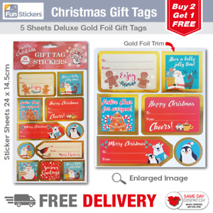 Gold Foil Christmas Gift Tag Stickers 55 Pieces 1701 GBP 1.49